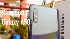 Galaxy A50 front and backside view
