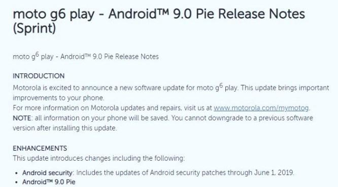 Moto G6 Play Android 9.0 Pie Update Sprint