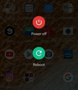 Power menu of an Android smartphone