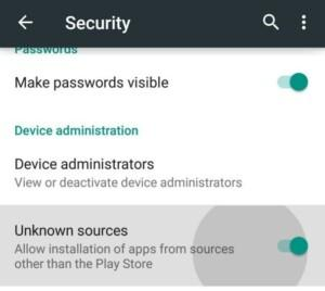 unknown sources option in Android setting