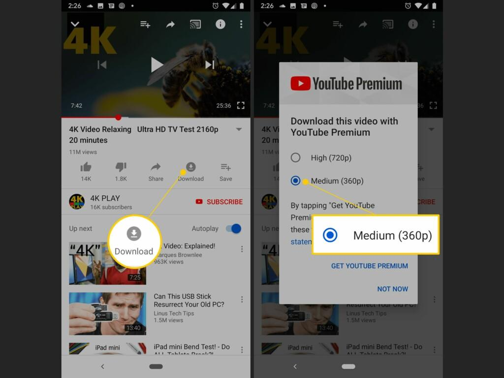 YouTube Premium MOD APK 4K video playing