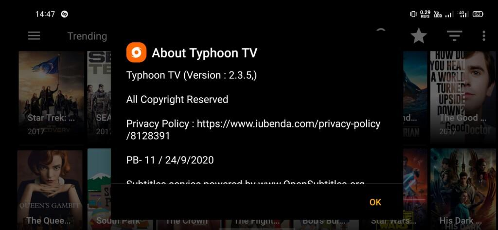 Typhoon TV APK version details about page
