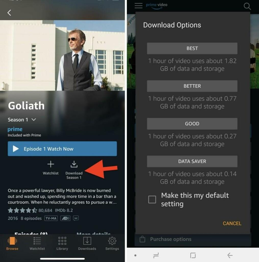 Video download feature in Amazon Prime Video MOD APK