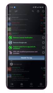 Creating multi-patches at the same time by selecting theAPK with the Multi Patch option in the Menu of Patches