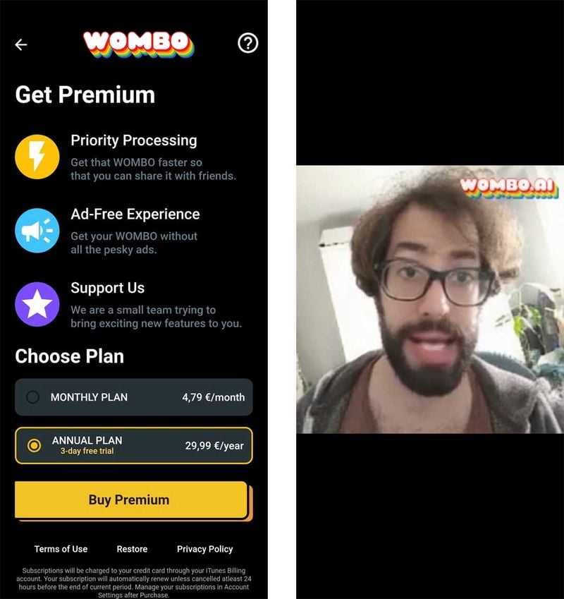 Subscription Plans of Wombo AI Premium