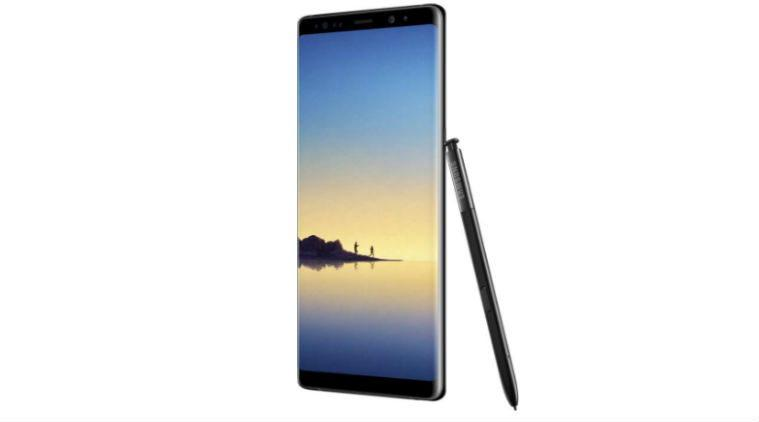 Galaxy Note 8 front and side view of black color model