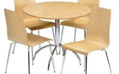 4 Seater Round Wooden Dining Tables with Chrome Legs