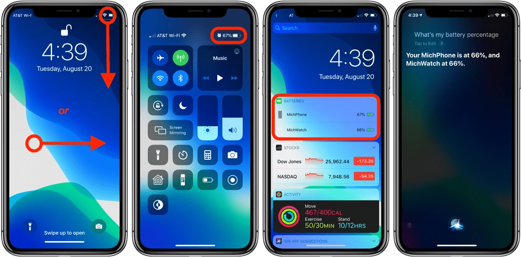 how to show battery percentage in iPhone