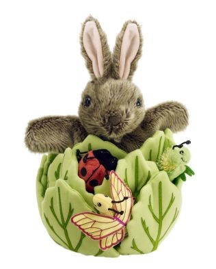 puppet play hide away rabbit in a lettuce puppet set by the puppet company