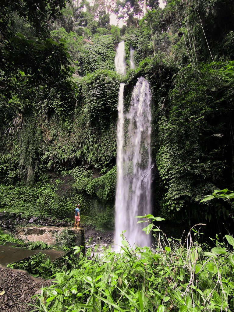 the stepped waterfall Sendang Gile from far
