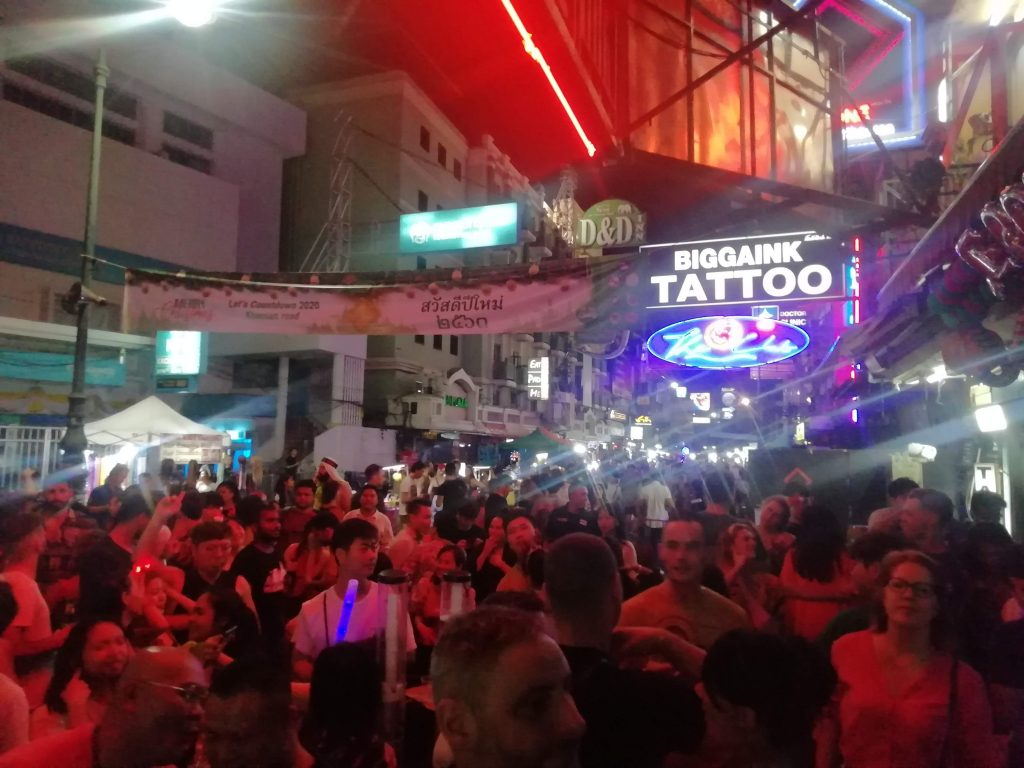 Partying in Khao San Road for Christmas Eve