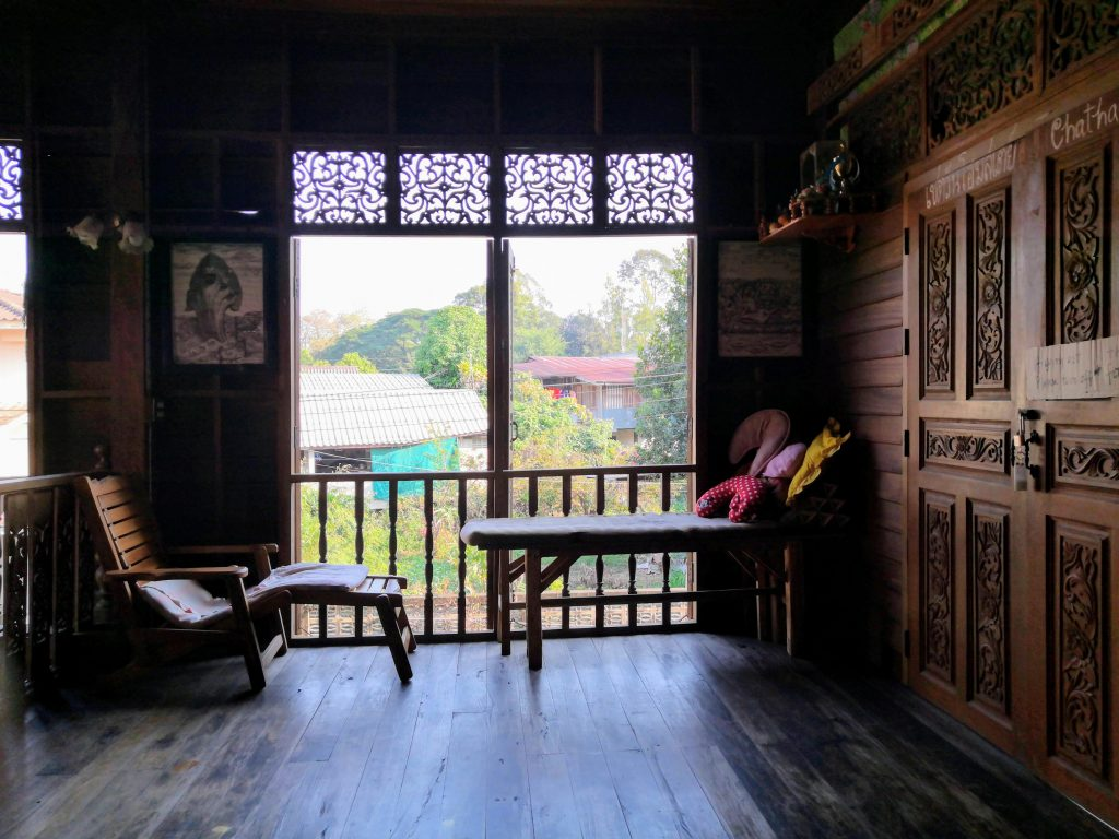 the interior of a teek house which was our accommodation in Phrae