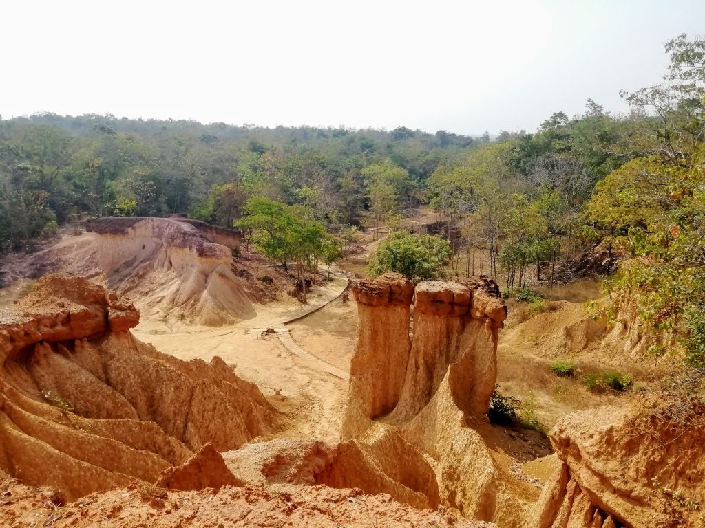 the soil columns at Phae Muang Phi Forest Park