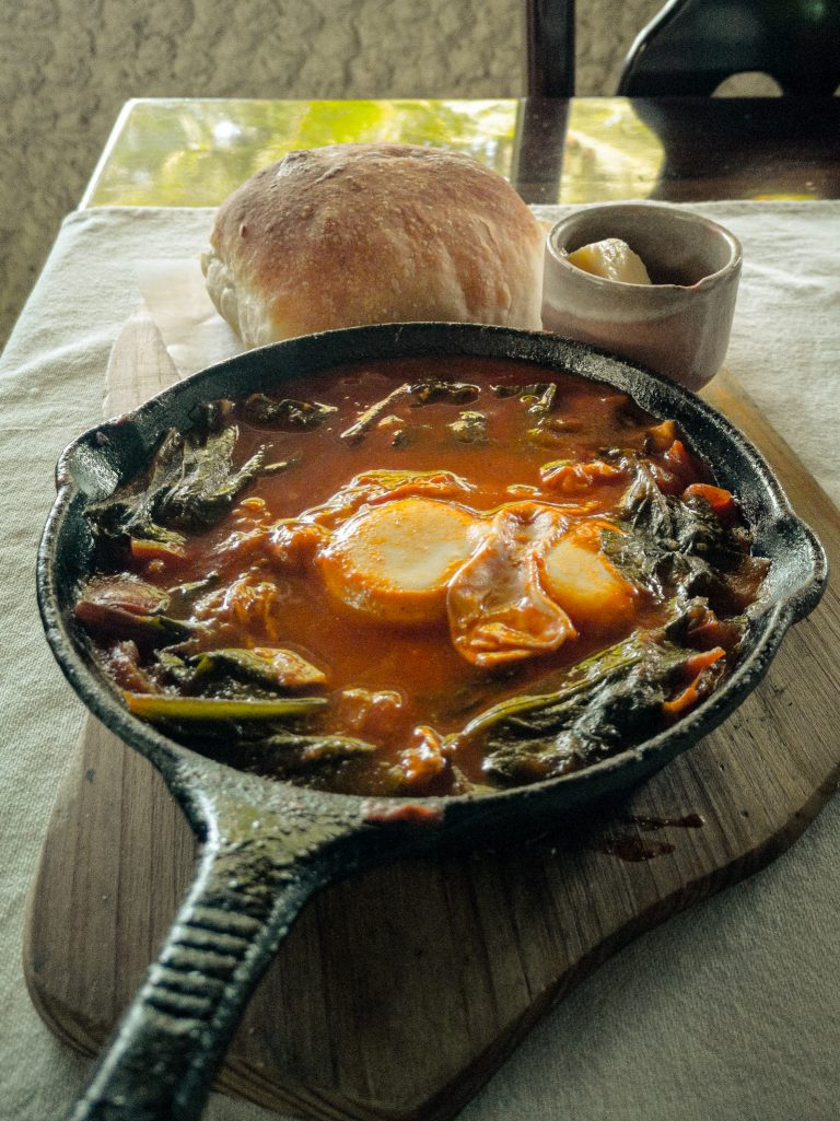 Shakshuka, one of Kurma's dishes, Here we had some of the best food in Camiguin.