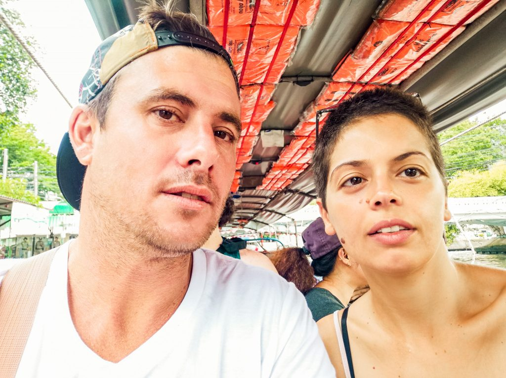 James and Jacqueline, the faces behind the traveldeck site, in a river boat while in Bangkok