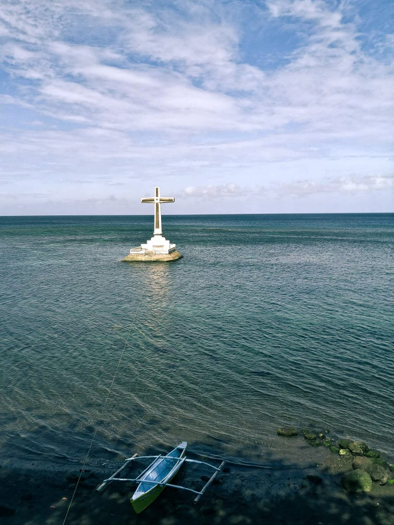 The cross at the sunken cemetary.