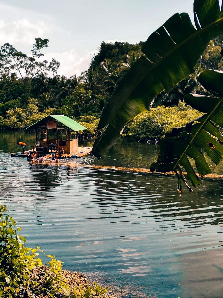 The bamboo barge floating in the Secret Lagoon