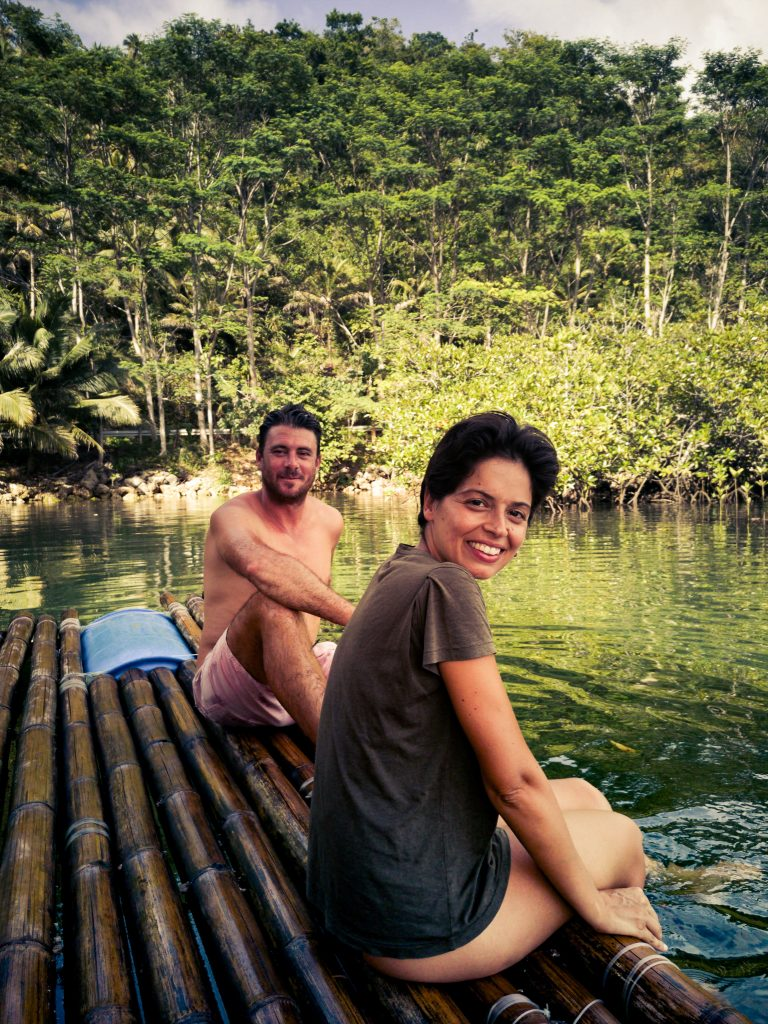 A quick snap of us floating on the bamboo barge and soaking our feet