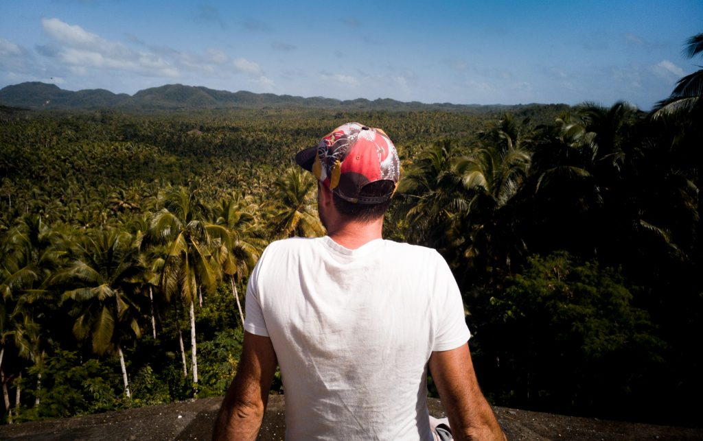 myself looking onto all the coconut trees at the coconut view Siargao