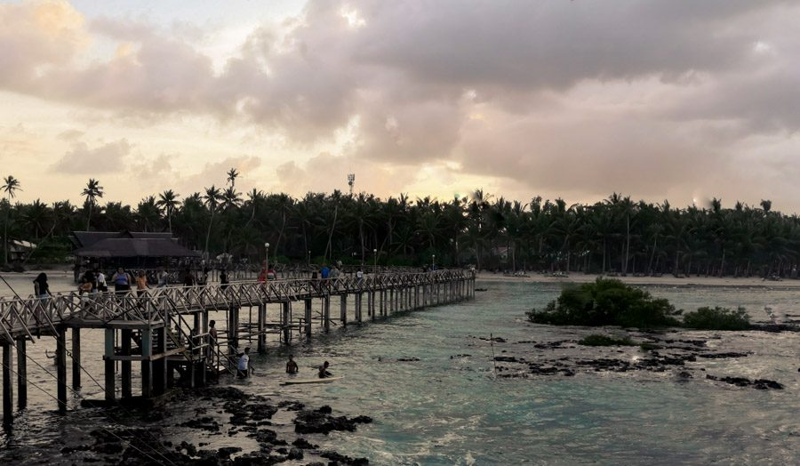 The wooden retro style pier at Cloud 9 Siargao