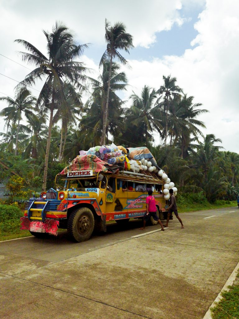 The jeepney, the iconic local public transport in the Philippines.