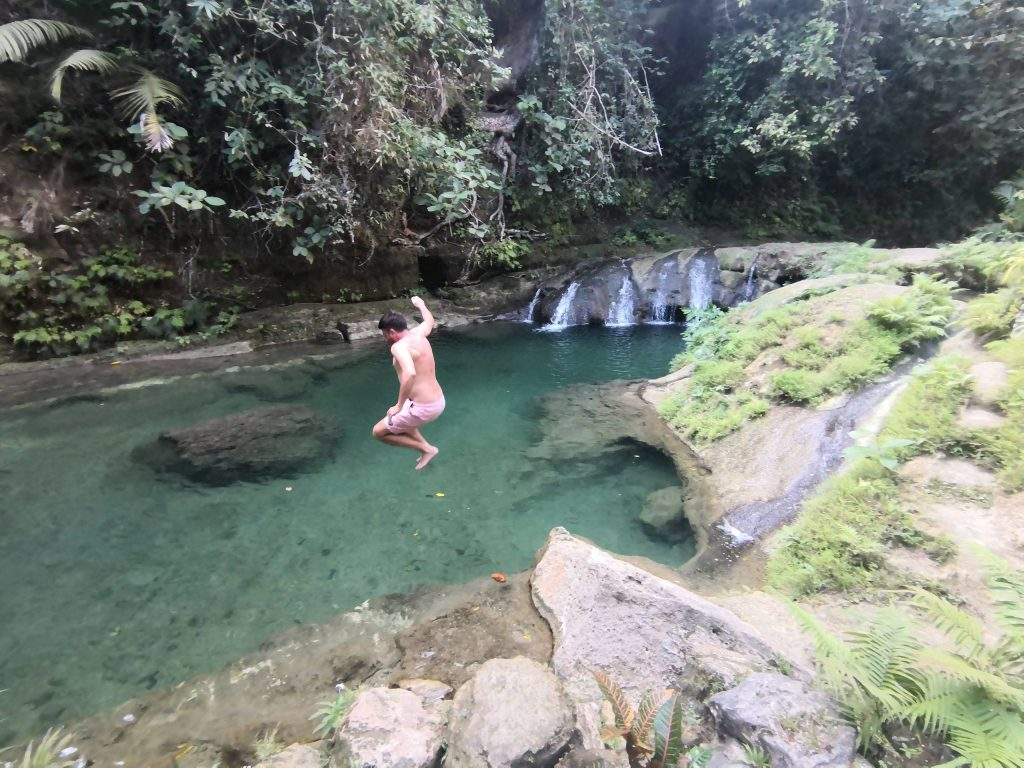 Cliff jumping from 3 meters at Locong Falls