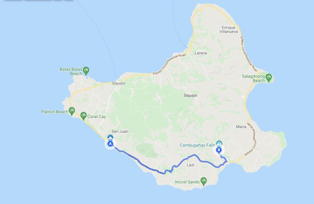 Siquijor Map with route from San Juan to Cambugahay Falls