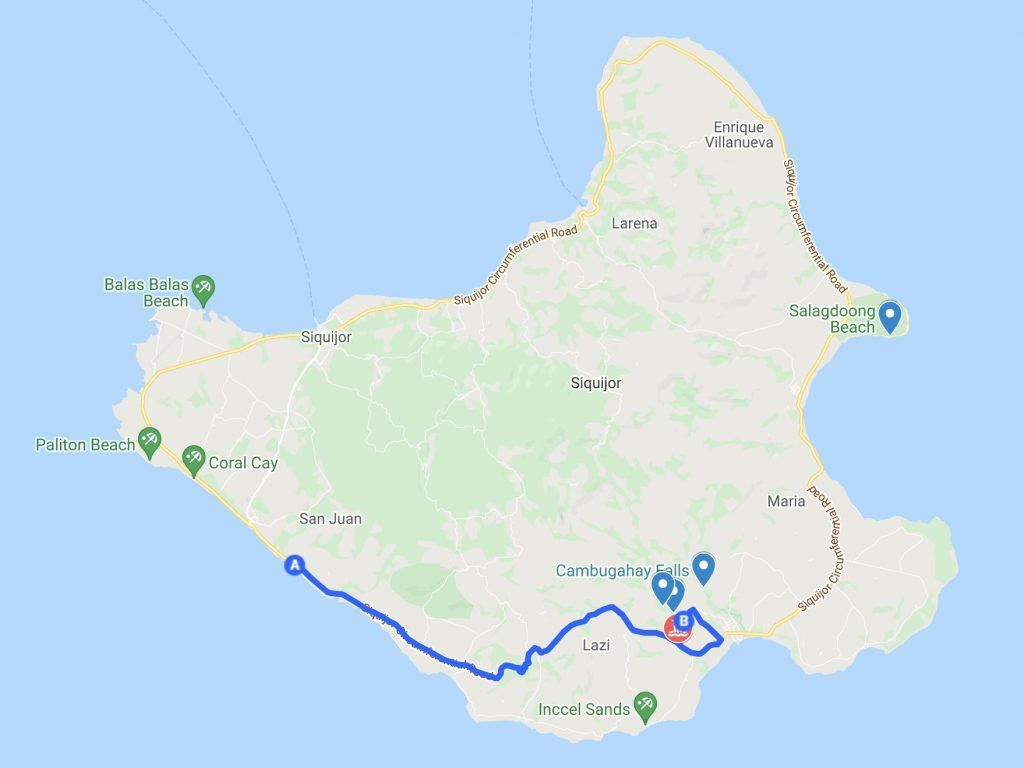 Siquijor Map with exact route from San Juan to Locong Falls