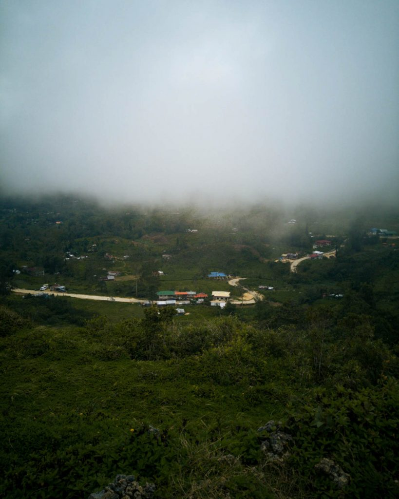 When the fog cleared up for a few minutes the view revealed a small village right below us