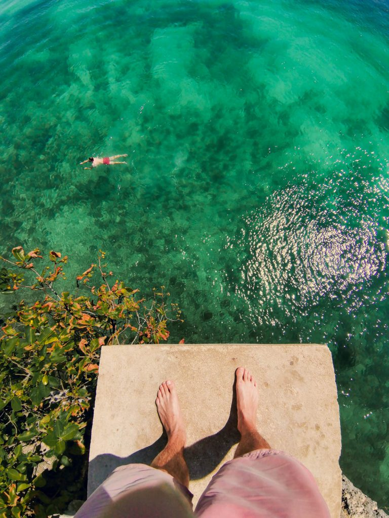 A 10 meter drop down into turquoise transparent water at Slagdoong Beach