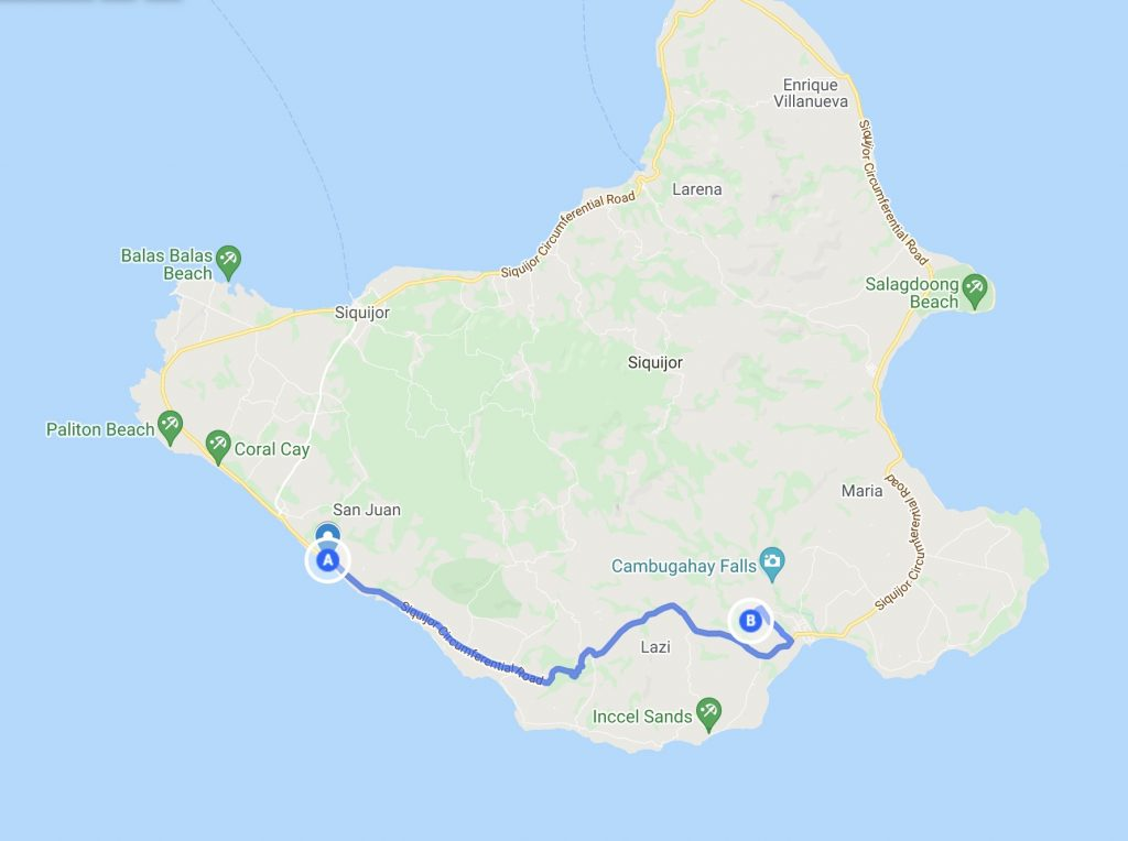 Siquijor map with route from San Juan to Kawasan Falls and cave
