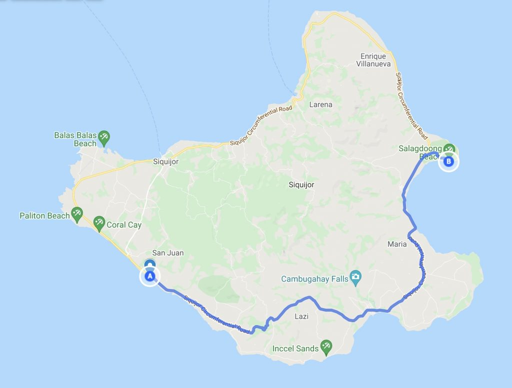 Map of Siquijor with route from San Juan to Salagdoong Beach
