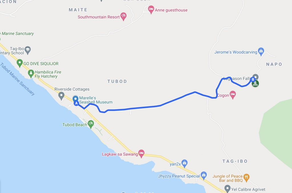 Siquijor Map with route from San Juan to Lugnason Falls