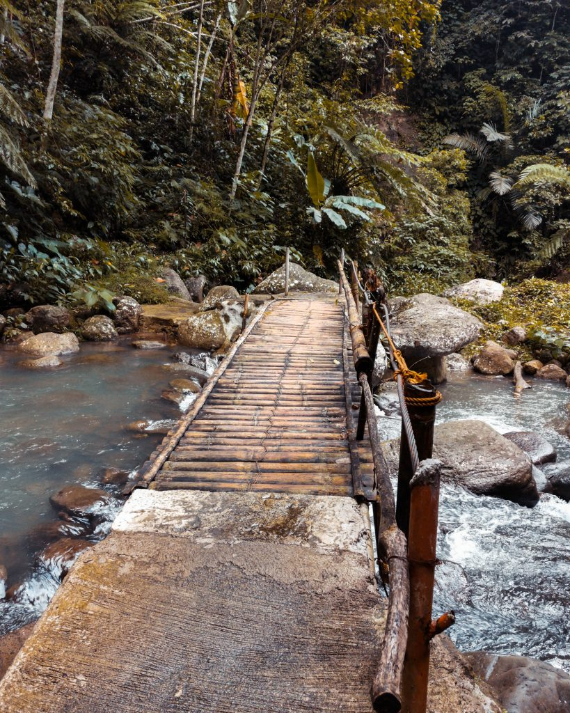 Another bamboo bridge crossing over the stream