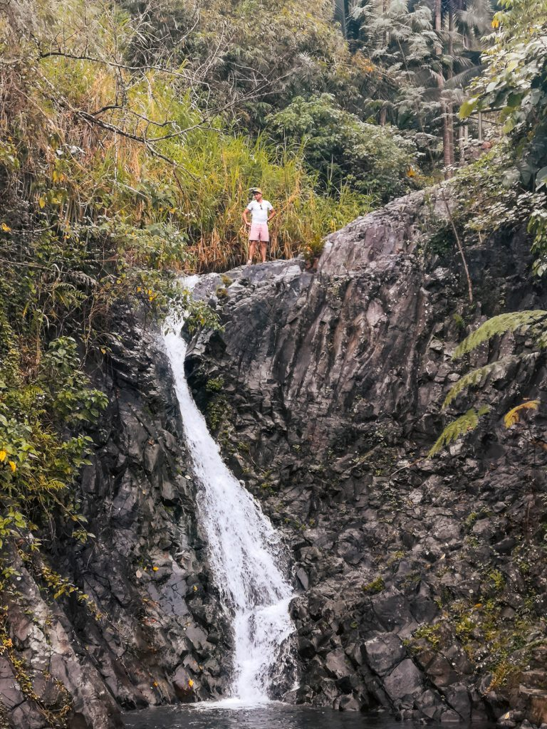 I climbed up to the top of the smaller cascade while Jacqueline swam below.