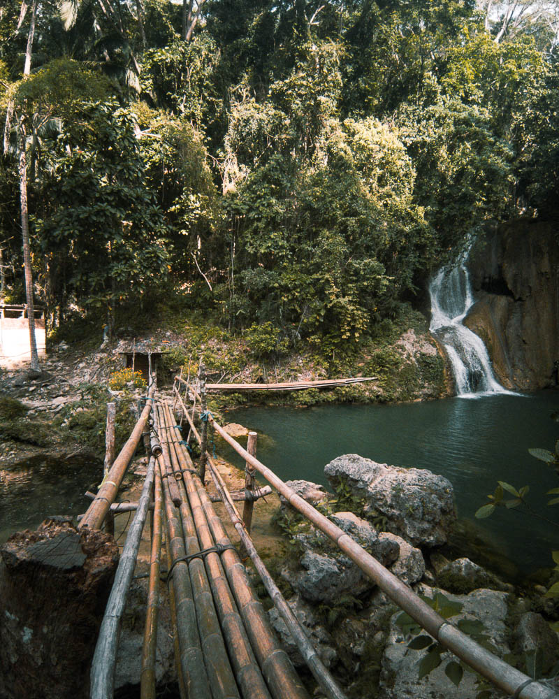A makeshift bamboo bridge for visitors to cross over