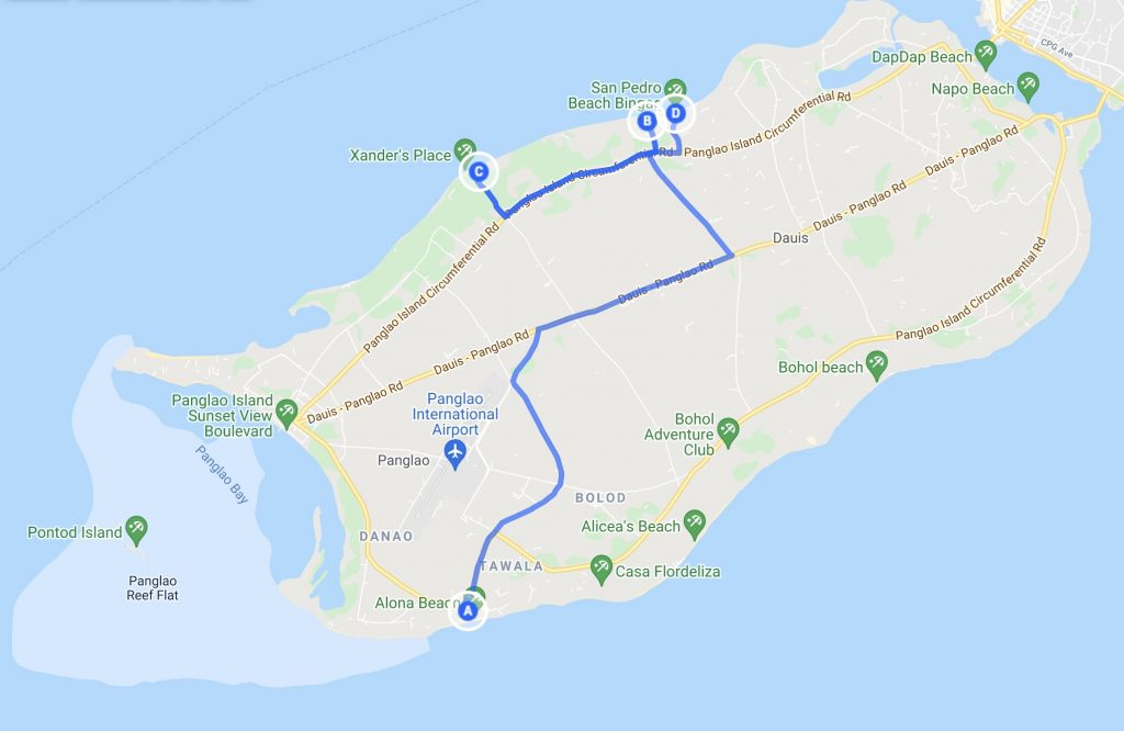 Panglao island map with pinpoints of popular places to visit