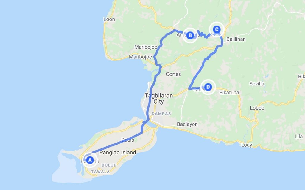 Bohol Map with points of interest for day 2 itinerary