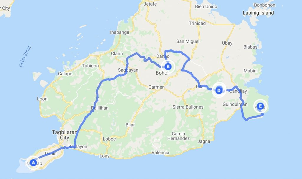 Bohol map and itinerary route for East Bohol