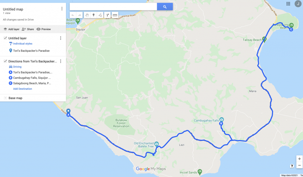 A screen of the route for day 3 itinerary in Siquijor