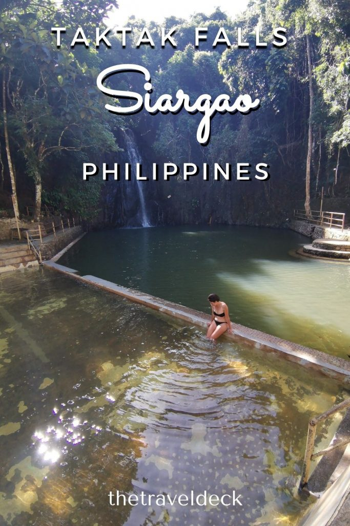 Jacqueline chilling by the man made pool at Taktak falls Siargao