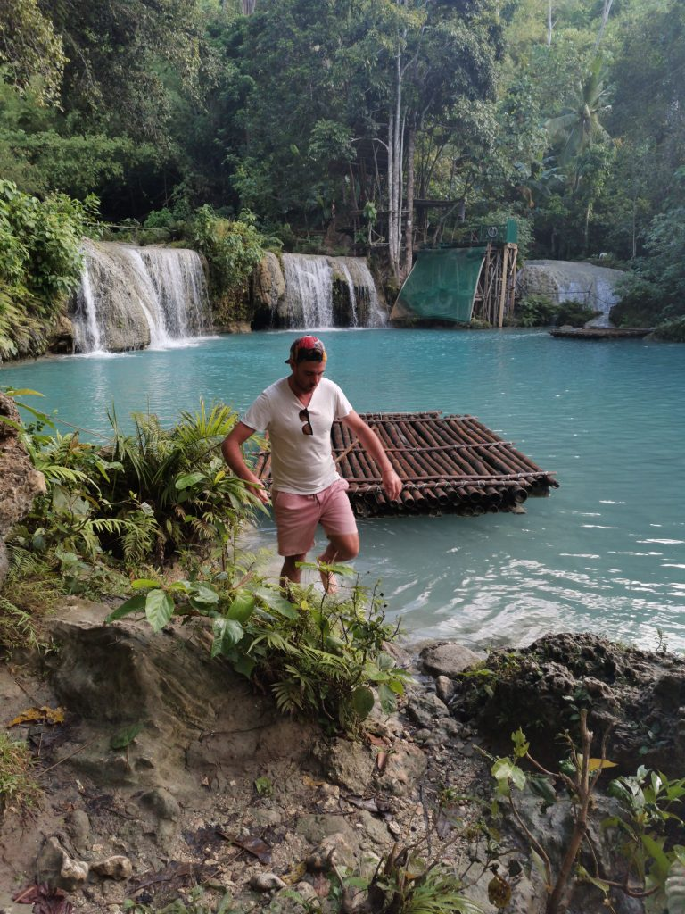 James at the foreground and the beautiful Siquijor Cambugahay falls in the background