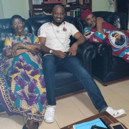 Yul Edochie pays a special visit to his Mum and Dad after a longspun