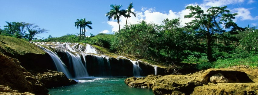 Amazing Natural Waterfall Hills Facebook cover photo