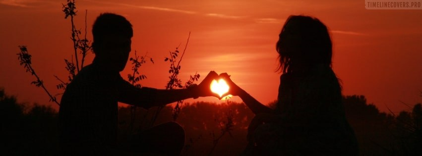 A Couple in Love Romantic Sunset Silhouette Facebook cover photo