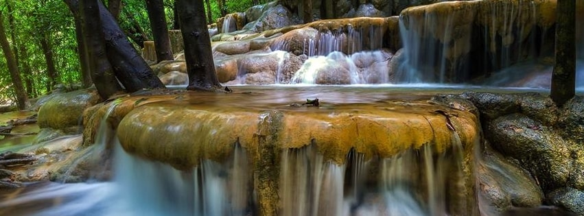 Amazing Forest Waterfall Facebook cover photo