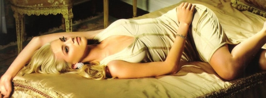 Amber Heard Lying in Bed Facebook cover photo