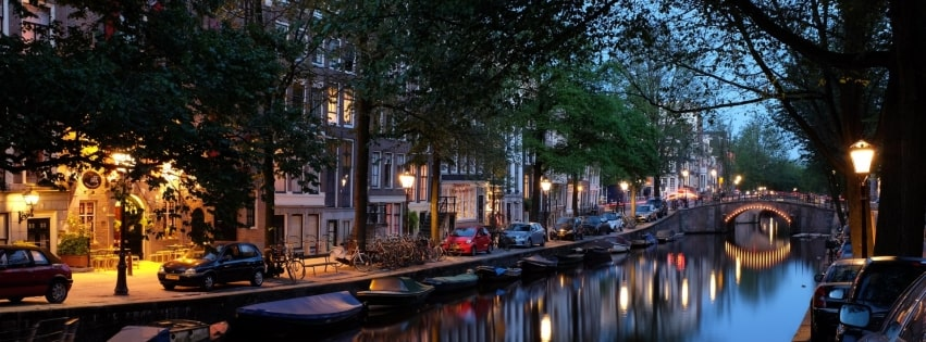Amsterdam Light Reflection on River Facebook cover photo