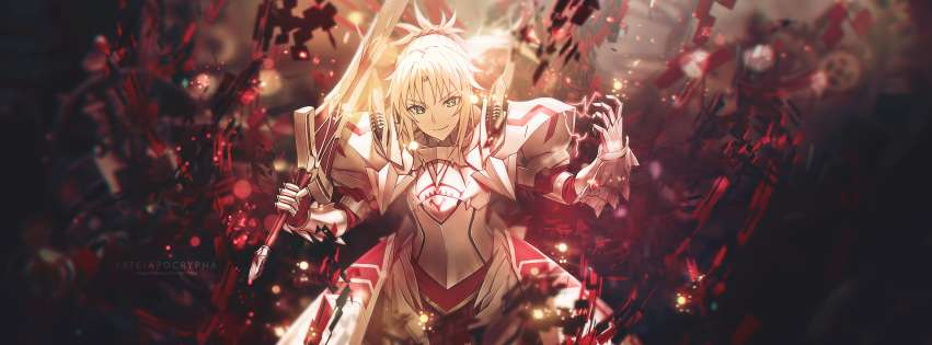 Anime Fate Apocrypha Mordred Saber of Red Facebook cover photo