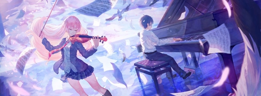 Anime Your Lie in April Kaori and Arima Facebook cover photo